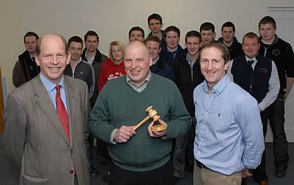 Left to right, Dick Harrison Trust chairman Nick Utting, Bill Nelson with his award and Andrew Wright, secretary of the Institute of Auctioneers and Appraisers Scotland with last year's first year students.